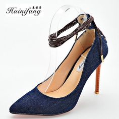 002db1313ba4 Click to Buy    2016 new blue denim high-heeled shoes Women.