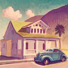 "Daily Paintworks - ""Bungalow"" - Original Fine Art for Sale - © Robert LaDuke Nostalgic Art, Art Deco Posters, Batman Art, Automotive Art, Teaching Art, Fine Art Gallery, Art Cars, Original Paintings, Art Paintings"