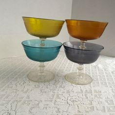 Vintage Plastic Sherbet Cups or Champagne Glasses in Blue, Orange, Yellow, and Purple by vintagepoetic on Etsy