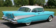 Turquoise+Cars   Turquoise/White 1957 Chevy Bel Air 2-Door Hardtop Additional Pictures