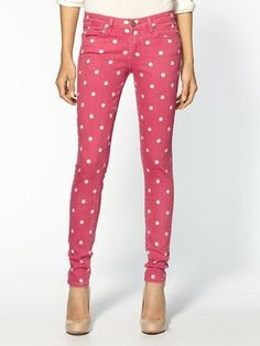 Polka Dot Pink Skinny Jeans!