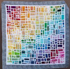 Gradated Mod Mosaic Quilt Top by Pitter Putter Stitch