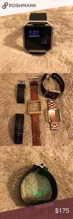 Fitbit Blaze with Additional Bands I am selling a Fitbit Blaze with additional replacement bands.  This listing includes: - Fitbit Blaze with small/medium black manufacturer athletic band - Stainless Steel Rose Gold band with removable links - 23mm Small/Medium Brown Leather Band - 23mm Small/Medium Black Leather Band - Gold frame (currently attached to Brown band) - USB Fitbit charger - Fitbit Dongle         (plastic casing on dongle is broken but you will only need to use it once to sync…