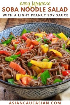 This vibrant Soba Noodle Salad recipe is chock full of colorful bell peppers and a light peanut soy sauce. It's a perfect summer salad for an outstanding vegetarian lunch or light dinner option. Add protein of choice for a heartier quick weeknight meal for busy weeknights. Asian Noodle Recipes, Healthy Asian Recipes, Vegetarian Recipes, Vegetarian Lunch, Japanese Soba Noodles, Asian Noodles, Dishes To Go, Food Dishes, Noodle Salad