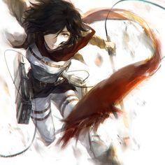 Mikasa Ackerman using 3D maneuver gear. (Attack on Titan)