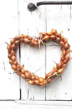 seidenfein 's Dekoblog: verliebtes Zwiebelherz * lovely onion heart * DIY Heart Diy, Diy Photo, Wreaths, Fall, Autumn, Garden, Christmas, Dekoblog, Crafts