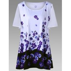 Polyester,Spandex Shirt Length: Short Collar: Casual Season: Floral Weight: 1 x T-Shirt Plus Clothing, Trendy Plus Size Clothing, Plus Size T Shirts, Plus Size Jeans, Plus Size Tops, Plus Size Fashion, Plus Size Vintage Dresses, Plus Size Dresses, Plus Size Outfits
