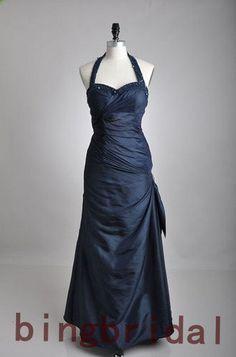 Custom make Sweetheart Halter Taffeta Satin evening Bridesmaid Party Dress via Etsy