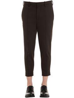 NEIL BARRETT Skinny Zip Hem Wool Gabardine Pants, Dark Brown. #neilbarrett #cloth #pants