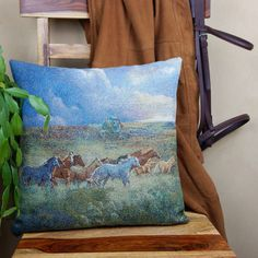 Western Pillow Cover Wild Horse Tapestry Pillow by LizzyandMe Equestrian Decor, Wild Horses, Westerns, Pillow Covers, Tapestry, Throw Pillows, Unique Jewelry, Handmade Gifts, Vintage