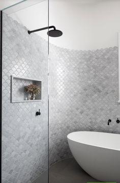 Grey Bathroom Fish Scale Freestanding Bath In Shower Mermaid Tiles Bathroom Fish Scale Bathroom Grey Wall Tiles Latest Bathroom Tiles, Bathroom Trends, Bathroom Renovations, Bathroom Interior, Bathroom Ideas, Bathroom Inspo, Bathroom Inspiration, Grey Bathrooms, Small Bathroom