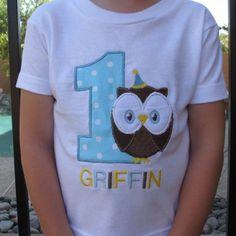 Owl, Personalized  Appliqued First Birthday Hat Shirt | sockmonkeyshop - Clothing on ArtFire