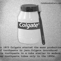 In 1873 Colgate started the mass production of toothpaste in jars. Colgate introduced its toothpaste in a tube similar to modern day toothpaste tubes in the 1890's.