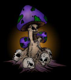 Evil Shroom by deadlightbulb on DeviantArt Mushroom Drawing, Mushroom Art, Trippy Drawings, Art Drawings, Badass Drawings, Colored Pencil Artwork, Pix Art, Hippie Painting, Stoner Art