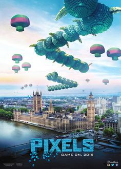 Pixels: (2015) - Stars: Adam Sandler, Kevin James, Michelle Monaghan. When aliens misinterpret video feeds of classic arcade games as a declaration of war, they attack the Earth in the form of the video games.