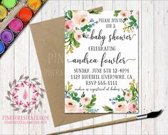 Boho Baby Bridal Shower Birthday Party Printable Invitation Invite Announcement