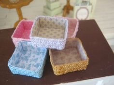 Decorative boxes, dollhouse miniature, scale 1:12 by WyrnasMiniatureB on Etsy