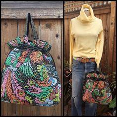 Beaded Beach Boho Bag Vintage Peacock Flower Design Hipster Drawstring    eBay