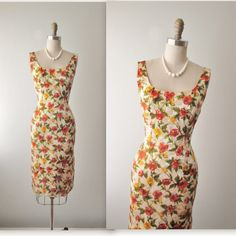50's Wiggle Dress // Vintage 1950's Floral Print Brocade Cocktail Garden Party Wiggle Dress S