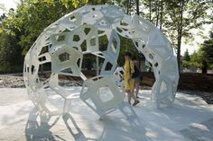 Jardin des Metis Quebec, www.umake.ca cut hundreds of wood pieces for this beautiful installation designed by Châssi Wood Pieces, Laser Cutting, Montreal, Fair Grounds, Quebec, Pretty, Bond, English, Beautiful