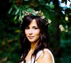 Bridal Greek Goddess Flower crown headpiece by Michele AmoreBride Greenery Headdress vine hairwreath barn wedding accessories gothic grecian on Etsy, $65.00