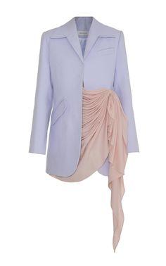 Princess Leia Hair Discover Draped Asymmetrical Cotton Blazer by Lado Bokuchava Daily Fashion, High Fashion, Womens Fashion, Stage Outfits, Fashion Outfits, Looks Style, My Style, Cotton Blazer, Classy Outfits