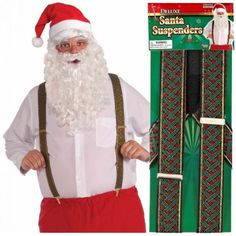 Deluxe Santa Claus Suspenders Adult Father Christmas Elf Fancy Dress Costume Asy in Other | eBay