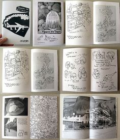 Old-school travel zine: 38 pages of drawings, comics and photos produced by Jon Burger from a trip to Bangalore, India. Sketchbook Inspiration, Layout Inspiration, Graphic Design Inspiration, Photography Zine, Art Zine, Buch Design, Arte Sketchbook, Handmade Books, Book Making