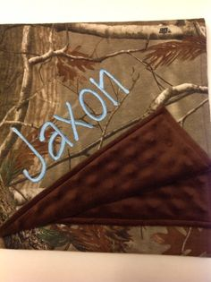 Personalized camo baby blanket by JeechStreet on Etsy, $43.00