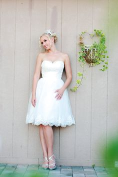 Camille - Short Wedding Dress, Organza an Lace , Reception Dress by The Little White Dress