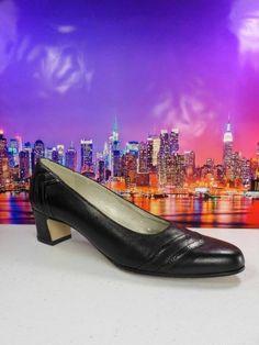 Womens shoes SELBY Comfort Flex leather basic black heels Career Pumps sz 7 M