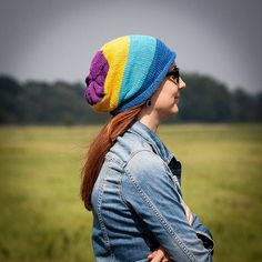 Violet Yellow Turquoise Blue Striped Slouchy Beanie by RUKAMIshop