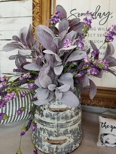 This cute little galvanized scoop is loaded with realistic looking faux purple lambs ears and lavender flowers. Perfect to use as a centerpiece, on a side table, dining table etc. Farmhouse Style Kitchen, Rustic Farmhouse, French Farmhouse, Farmhouse Design, Lavender Flowers, Silk Flowers, Colorful Flowers, Flowers Dp, French Flowers
