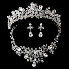 Silver Clear Swarovski CrystalS Bead and Rhinestone Necklace Earring Tiara Set
