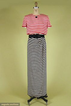 Bill Blass Striped Silk Evening Dress, 1970s, Augusta Auctions, October 2007 Vintage Clothing & Textile Auction, Lot 511