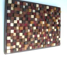 Modern Wood Sculpture Wall Art 24x36