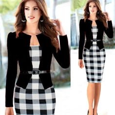 Dress Belted Work Attire Sheath Dress