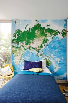 home reno: from dreary to dream family dwelling Boys Bedroom Decor, Blue Bedroom, Bedroom Wall, Kid Decor, World Map Bedroom, Blue Rooms, New Beds, Home Reno, Dream Rooms