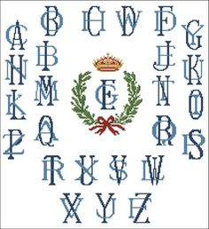 Alphabet: Crown Emblem Monogram - Click Image to Close Needlepoint Stitches, Needlepoint Canvases, Needlework, Alphabet Charts, Cross Stitch Alphabet, Cross Stitch Designs, Cross Stitch Patterns, Monogram Alphabet, Emblem