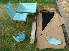 WW2 1943 British Army Campaign Furniture Chair Large Sink Bucket Basin Bed Roll
