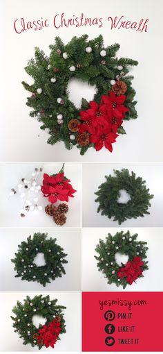 Christmas Wreath Ideas - Classic Wreath - See more beautiful DIY Chrsitmas Wreath ideas at DIYChristmasDecorations.net!