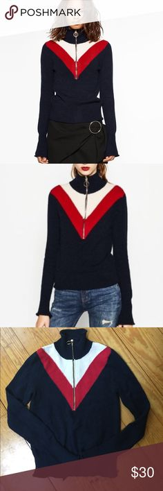 Zara half zip sweater Navy red and (off) white sweater with silver zipper and ring from Zara. Long sleeves have subtle bell at the wrist. Sweater is a true medium but it's a slimmer fit. Not oversized or baggy. Some minor pilling throughout but otherwise good condition Zara Sweaters