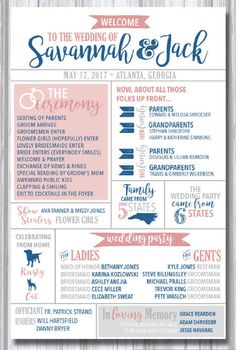 infographic wedding program printable modern fun entertaining for guests states travel destination fun facts drinks hashtag pets