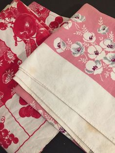 Vintage Cotton Tablecloths Set 2 Red Fruit Pink Floral Some Stains USA Cutters
