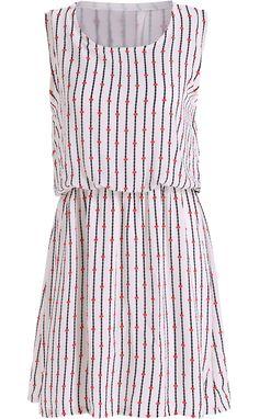 White Sleeveless Vertical Stripe Chiffon Dress
