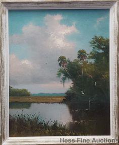 Fl Highwaymen Harold H Newton 30X24 Landscape Painting Upson Board 1owner 3of 5 #Impressionism