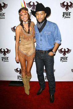 Chrissy Teigen played the part of Pocahontas while attending a Halloween bash with fiancé John Legend in 2008. Source: Getty