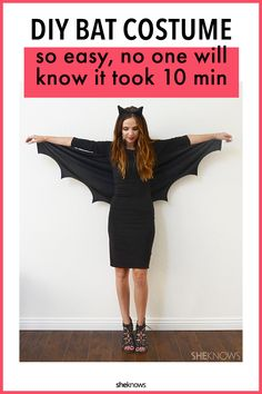 A DIY Bat Costume so Easy No One Will Know It Only Took 10 Minutes – SheKnows The Effective Pictures We Offer You About DIY Costume fairy A quality picture can tell you many things. You can find the m Bat Costume Womens, Diy Bat Costume, Teacher Halloween Costumes, Easy Halloween Costumes For Women, Halloween Costumes For Work, Halloween Bats, Costume Women Diy, Costume Ideas, Halloween Foods