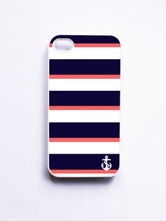 Nautical iPhone Case for Iphone 4 / 4S - Navy  Coral Stripe With Anchor  @Leslie Lippi Lippi O'Sullivan