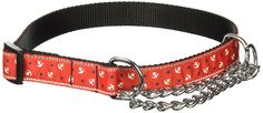 Mirage Pet Products Anchors Nylon Ribbon Martingale Collar  for Pets, Large, Red -- Additional details found at the image link  : Collars for dogs